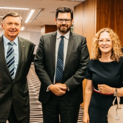 Standing left to right are The Hon. Malcolm McCusker, Chairman and Director of Law Access, The Hon. Chief Justice Peter Quinlan, Chief Justice of Western Australia and The Hon. Justice Jennifer Smith, Judge of the Supreme Court of Western Australia